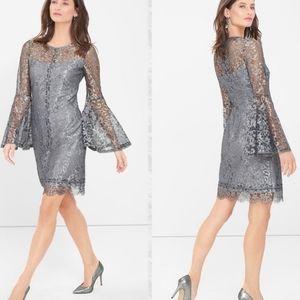 WHBM Metallic Bell Sleeve Dress, Size 0